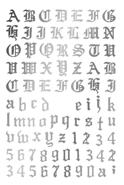 JUSTNAILS Sticker selbstklebend Buchstaben Letters Silver HOLO